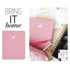 """Bring It Home: Flamingo Notebook"" by polyvore-editorial ❤ liked on Polyvore featuring interior, interiors, interior design, home, home decor, interior decorating, Skinnydip and bringithome"