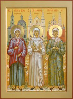 St. Xenia, St. Valentina, St. Matrona Religious Icons, Religious Art, Lives Of The Saints, Best Icons, Byzantine Icons, Orthodox Christianity, Art Icon, Orthodox Icons, 2d Art