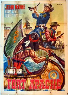 FORT APACHE (1948) - John Wayne - Henry Fonda - Shirley Temple - Directed by John Ford - RKO-Radio -European Movie Poster.