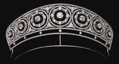 Diamond Diadem of Henckel von Donnersmarck, family can be traced back to 14th century, roots in Central Europe. Acquired by an ancestor of the current count, who was a special envoy and minister plenipotentiary to the German embassy in Copenhagen. Kaiser Wilhelm II spent a few weeks touring Northern Europe on his yacht Hohenzollern. Probably purchased in 1906 when the Kaiser combined his annual trip with attending coronation in June of King Frederic VII of Denmark.