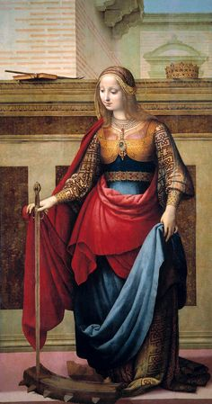 """Saint Catherine of Alexandria"" -- Circa -- Fernando Yáñez de la Almedina -- Spanish -- Oil on wood -- The Prado Museum -- Madrid, Spain Renaissance Kunst, Italian Renaissance, Renaissance Paintings, Hans Baldung Grien, St Catherine Of Alexandria, Catholic Saints, Roman Catholic, Sacred Art, Christian Art"
