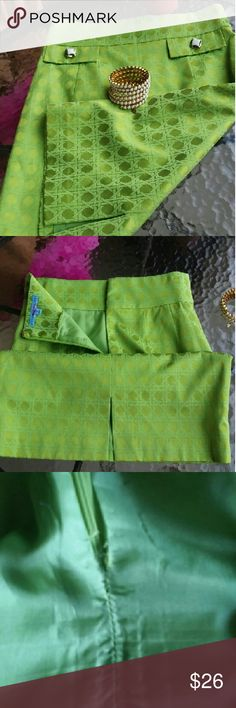 Antonio Melani 50% Reduced $ Green Pencil Skirt Total length 22.5 in., waist 27 in., hips 35 in., back slit length 4.5 in. Fabric: 62% cotton, 35% polyester, 3%spandex. Excellent condition. Minor tear on inside lining near zipper (see pic). Zipper still functional. ANTONIO MELANI Skirts Midi