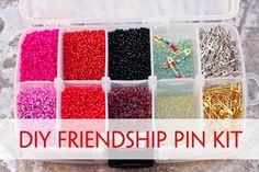 Friendship pin kit: uses a $3.50 tackle box from WalMart (that flips over and has storage on both sides). Glass beads from WalMart only $1.50/box.