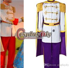 Custom Made Cinderella Prince Charming Purple Costume Uniform Suit Outfit Adult Men's Halloween Cosplay Costume, $94.25 | DHgate.com