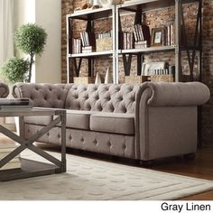 Knightsbridge Tufted Scroll Arm Chesterfield Sofa by SIGNAL HILLS - Free Shipping Today - Overstock.com - 16408509 - Mobile