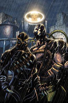 Forever Evil: Arkham War - Empire of the Bat. Bane becomes the new Batman and uses the Talons to assert his control over Gotham. Bane Batman, Im Batman, Batman Stuff, Batman Arkham, Arte Dc Comics, Fun Comics, Court Of Owls, Comic Book Villains, Gotham Villains
