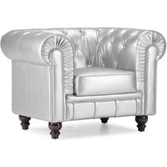 Zuo Modern Aristocrat Armchair Silver Leatherette 900102 ($798) ❤ liked on Polyvore featuring home, furniture, chairs, accent chairs, white arm chair, white accent chair, tufted arm chair, faux leather armchair and tufted accent chair