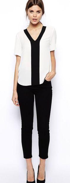 Women's fashion | V neck color block shirt