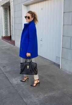 street style. blue coat