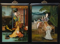Pr of 20th Century Chinese Reverse paintings on glass (painted from the back) amazing!