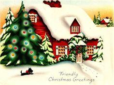 Vintage Christmas Card Image On CD House Tree Snow Scottie Dog