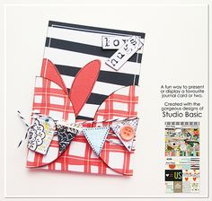 A fun way to present a JC: in its own pocket with added embellishment!  Created with Unexpected Moments Bundle by Studio Basic Modified DIY Templates: Project Card Pockets by Heather Roselli  Other resources: card, adhesive, staples, ink, pen, Bakers twine, button