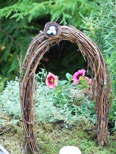 Miniature Fairy Garden Arbor with Bird's Nest. $9.95, via Etsy.  minus the birds nest