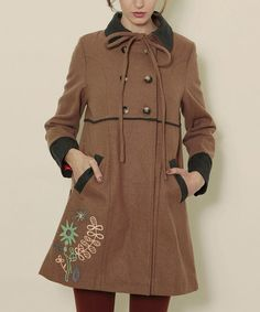Take a look at this Brown Flora Coat Bow Coat by Titis Clothing on #zulily today!