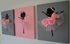 Tanzende Ballerinas Wand Kunst. Satz von drei Rosa tanzenden Ballerinas.