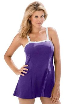 Roamans Women's Plus Size Solid Color Banded Swimdress - Listing price: $61.56 Now: $46.56