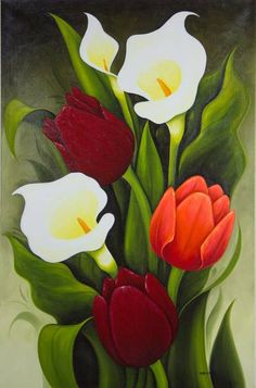 Limited Edition Floral Oil Painting from Mexico - Tulips and Calla Lilies NOVICA Tulip Painting, Flower Painting Canvas, Oil Painting Flowers, Flower Paintings, Beautiful Paintings Of Flowers, Face Paintings, Abstract Flowers, Painting Art, Black Canvas Paintings