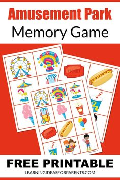 Memory Games For Kids, Game Tickets, Printer Paper, Matching Games, Educational Activities, Amusement Park, Book Lists, Free Games, How To Introduce Yourself