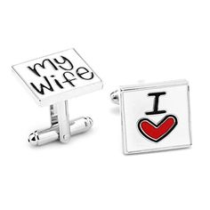 """RevoLity """"I LOVE"""" Series Heart Cufflinks Cuff Buttons Enamel Cuff Links for Christmas/ Fathers' Day/ Valentine's Day/ Memorial Day Jewelry Gift (I Love My Wife). Material:electroplate/enamel. 100% brand new and high quality. Perfect Gift for Wedding party gifts, Fathers day, Christmas, Graduation, Boss's day, Groom, Usher, Father of the bride, etc. Also great for girlfriend, mother, dad, wife to collect. We have a lot of design, you can just choose the one you like."""