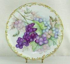 "10.5"" Antique T V Limoges France Hand Painted Grapes Charger Plate C 1892 1907 | eBay"
