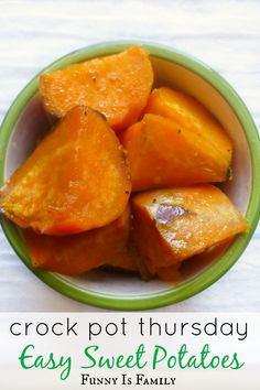 Crock Pot Easy Sweet Potatoes – Funny Is Family Don't wait for Thanksgiving to make these incredibly easy Crockpot Sweet Potatoes recipe! They have the perfect blend of buttery sweetness, and make an excellent side dish! Crockpot Sweet Potato Recipes, Crock Pot Sweet Potatoes, Crockpot Dishes, Crock Pot Slow Cooker, Crock Pot Cooking, Vegetable Recipes, Crock Pot Vegetables, Crock Pot Yams Recipe, Crockpot Veggies