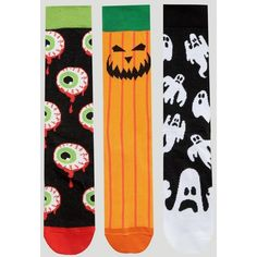 ASOS Halloween Socks 3 Pack (42 BRL) ❤ liked on Polyvore featuring men's fashion, men's clothing, men's socks, multi and asos