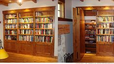Modern Vintage: Secret passages for your home! I think a magical house has at least one or two secret passages or hidden rooms. Hidden Spaces, Hidden Rooms, Secret Rooms In Houses, Hidden Passageways, Home Engineering, Interior Paint Colors For Living Room, Bookcase Door, Bookshelves, Home Security Tips