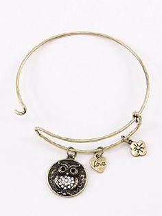 Gold, Fashion Owl Rhinestone Accent Letter Bracelet, Letter Engraved Rhinestone Accent Materials Metal Unknown http://www.amazon.com/dp/B00KSERUZQ/ref=cm_sw_r_pi_dp_vsaPub16B6HCS