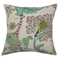Floral-print cotton throw pillow with down insert.     Product: PillowConstruction Material: CottonColor: MultiFeatures:  Down insert includedHidden zipper closureMade in the USA Dimensions: 18 x 18Cleaning and Care: Spot clean