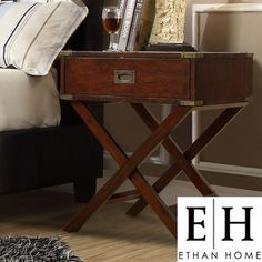 @Overstock.com - This Neo accent table features a fixed X-base, antique bronze brackets and French dovetailed drawers. This elegant bedside table looks fantastic in any modern setting.http://www.overstock.com/Home-Garden/ETHAN-HOME-Neo-Espresso-Box-Accent-Table-with-X-Leg/7304851/product.html?CID=214117 $154.99
