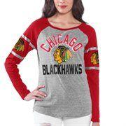 Chicago Blackhawks Women's Base Runner Tri-Blend Long Sleeve T-Shirt - Gray