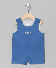 Take a look at this Lollypop Kids Blue Personalized Shortalls - Infant & Toddler by Lollypop Kids Clothing on #zulily today!