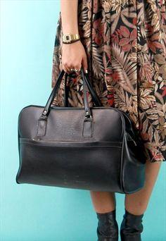 Vintage Faux Leather Large Black Bag @asosmarketplace