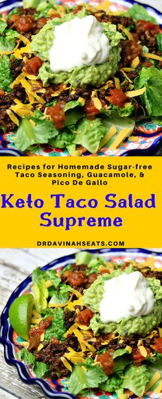 An easy, low-carb and keto-friendly option for Taco Supreme at home. An easy, low-carb and keto-friendly option for Taco Supreme at home. Includes directions for an easy guacamole, pico de gallo, and clean taco seasoning. Ketogenic Diet Meal Plan, Diet Plan Menu, Keto Meal Plan, Diet Meal Plans, Lunch Recipes, Low Carb Recipes, Diet Recipes, Healthy Recipes, Slimfast Recipes