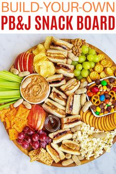 Kids and grown-ups alike will love this Peanut Butter and Jelly Snack Board that offers classic peanut butter and jelly sandwiches with an amazing selection of snacks to go with them. It's an easy, fun and delicious way to serve a snack or meal. Charcuterie Recipes, Charcuterie And Cheese Board, Cheese Boards, Party Food Platters, Snack Platter, Appetizer Recipes, Snack Recipes, Appetizers, Afternoon Snacks