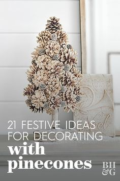 Gather pinecones from the yard to warm your home in the chilly months. These pinecone decorations bring seasonal delight to every room. Diy Christmas Lights, Cone Christmas Trees, Christmas Crafts To Make, Christmas Projects, Handmade Christmas, Holiday Crafts, Christmas Ornaments, Pinecone Christmas Crafts, Pine Cone Art