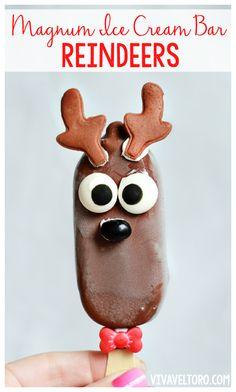 Ice Cream Bar Reindeers - a super cute chocolate treat for kids this holiday season!  #MyChocoLove #ad #spon