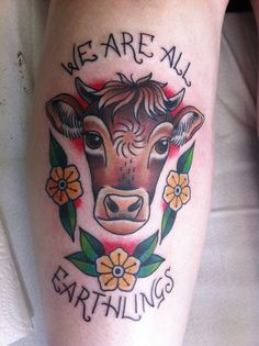 We are all earthlings. Super proud to do a vegan tattoo!  Harriet Heath.