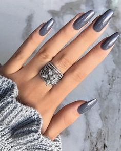 Grey ✨#notd #nails #realnails #greynails #longnails #style #grey