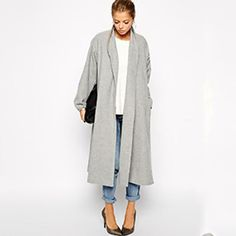 Wool long grey coat casual chique