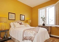 Yellow Painted Rooms, Yellow Bedroom Paint, Yellow Paint Colors, Yellow Walls, Yellow Master Bedroom, Yellow Bedrooms, Bedroom Decor For Small Rooms, White Bedroom Furniture, Plywood Furniture