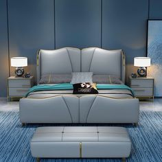 Bed Cushion Design, Bed Headboard Design, Headboards For Beds, Luxury Bedroom Design, Master Bedroom Interior, Bedroom Bed Design, Cute Bed Sets, Modern Platform Bed, Bedroom Cupboard Designs