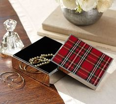 """Red Plaid Pattern Box #potterybarn - plaid is festive and bold, and it's trimmed in a shiny nickel finish for an understated touch of glamour. Small: 4"""" diameter, 2"""" high Large: 6"""" diameter, 2"""" high Made of stainless steel with a shiny nickel finish. Nylon velvet lining."""
