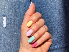 A spring favorite nail trend #beautyblog #nails #uñas #essie #pastelrainbownails Essie, Rainbow Nails, Spring, Beauty, Enamels, Pastel Shades, Mail Boxes, Colorful Nail, Nailed It