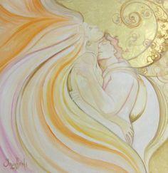 Angels in Love (Painting), cm by Ines Honfi Art Romantique, Romance Art, Twin Souls, Couple Relationship, Relationships, Illustrations, Tantra, Love Painting, Pics Art