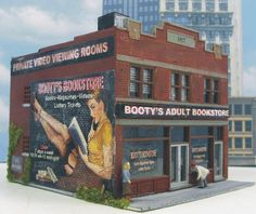 Adult Bookstore Downtown Building in HO scale by D.A. Clayton