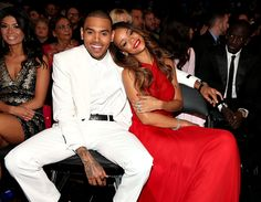 Rihanna and Chris Brown Cuddle Up in the #Grammys Front Row at @StaplesCenter LA on 2/10/13  http://celebhotspots.com/hotspot/?hotspotid=6465&next=1