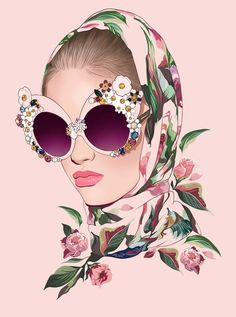 I was inspired to paint this model in Dolce & Gabbana's Spring 2016 gorgeous dress and sunglasses. My interpretation. :)