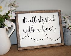 It All Started With a Beer Sign / Farmhouse Decor / Rustic Decor / Fixer-Upper Style / Country Songs / Wood Sign / Rustic Home Decor farmhouse decor dining room farmhouse decor diy farmhouse decor southern living country farmhouse decor Fixer Upper, Diy Home Decor For Apartments, Country Farmhouse Decor, Modern Country, Farmhouse Style, French Country, Modern Farmhouse, Country Wood Signs, Country Chic
