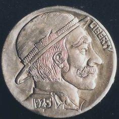 MIKE CIRELLI HOBO NICKEL - 1925 BUFFALO PROFILE Hobo Nickel, Buffalo, Classic Style, Coins, Carving, Profile, User Profile, Rooms, Wood Carvings